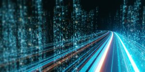3d,Rendering,Of,Abstract,Highway,Path,Through,Digital,Binary,Towers